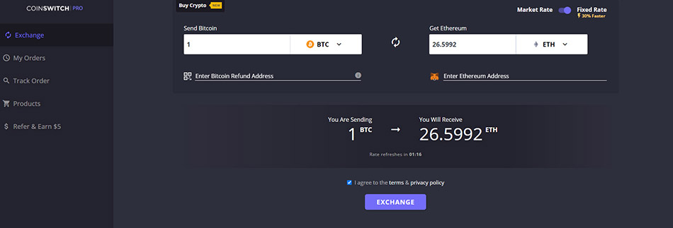 CoinSwitch review exchange DEX
